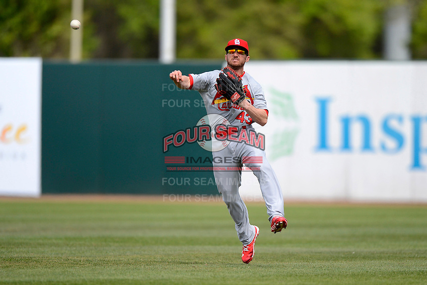 St. Louis Cardinals outfielder Shane Robinson #43 during a Spring Training game against the Houston Astros at Osceola County Stadium on March 1, 2013 in Kissimmee, Florida.  The game ended in a tie at 8-8.  (Mike Janes/Four Seam Images)