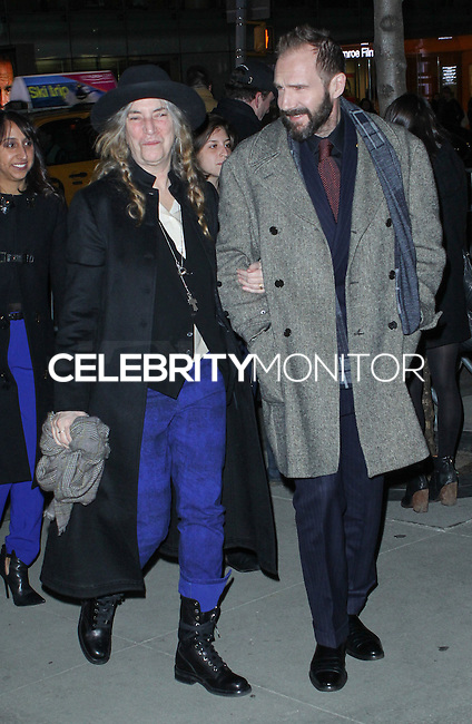 """NEW YORK CITY, NY, USA - FEBRUARY 26: Patti Smith, Ralph Fiennes at the New York Premiere of Fox Searchlight Pictures' """"The Grand Budapest Hotel"""" held at Alice Tully Hall on February 26, 2014 in New York City, New York, United States. (Photo by Jeffery Duran/Celebrity Monitor)"""