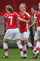 Gilly Flaherty of Arsenal celebrates after her side take the lead 1-0 - Arsenal Ladies vs Sparta Prague - UEFA Women's Champions League at Boreham Wood FC - 11/11/09 - MANDATORY CREDIT: Gavin Ellis/TGSPHOTO - Self billing applies where appropriate - Tel: 0845 094 6026
