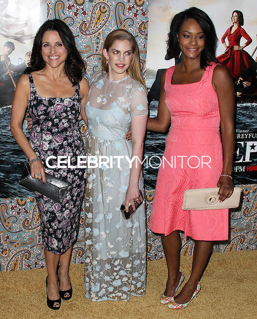 "HOLLYWOOD, LOS ANGELES, CA, USA - MARCH 24: Julia Louis-Dreyfus, Anna Chlumsky, Sufe Bradshaw at the Los Angeles Premiere Of HBO's ""Veep"" 3rd Season held at Paramount Studios on March 24, 2014 in Hollywood, Los Angeles, California, United States. (Photo by Xavier Collin/Celebrity Monitor)"