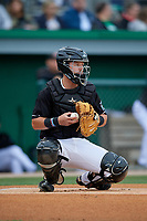 Batavia Muckdogs catcher Dustin Skelton (6) during a NY-Penn League game against the State College Spikes on August 24, 2019 at Dwyer Stadium in Batavia, New York.  State College defeated Batavia 1-0.  (Mike Janes/Four Seam Images)