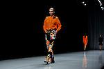 ..October 15, 2012, Tokyo, Japan - A model poses on the catwalk wearing ''KAMISHIMA CHINAMI'' during Mercedes-Benz Fashion Week Tokyo 2013 Spring/Summer. The Mercedes-Benz Fashion Week Tokyo runs from October 13-20. (Photo by Yumeto Yamazaki/Nippon News)