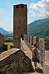 Walking along the castle wall of Castelgrande in Bellinzona, Switzerland