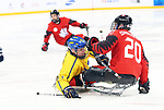 Pyeongchang, Korea, 10/3/2018- Bryan Sholomicki of Canada plays Sweden in hockey during the 2018 Paralympic Games in PyeongChang. Photo Scott Grant/Canadian Paralympic Committee.