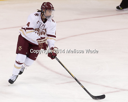 Megan Keller (BC - 4) - The Boston College Eagles defeated the visiting Syracuse University Orange 10-2 on Saturday, October 4, 2014, at Kelley Rink in Conte Forum in Chestnut Hill, Massachusetts.