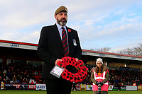 Ex-Stevenage player Neil Trebble with a wreath for Armistice Day during Stevenage vs Notts County, Sky Bet EFL League 2 Football at the Lamex Stadium on 11th November 2017
