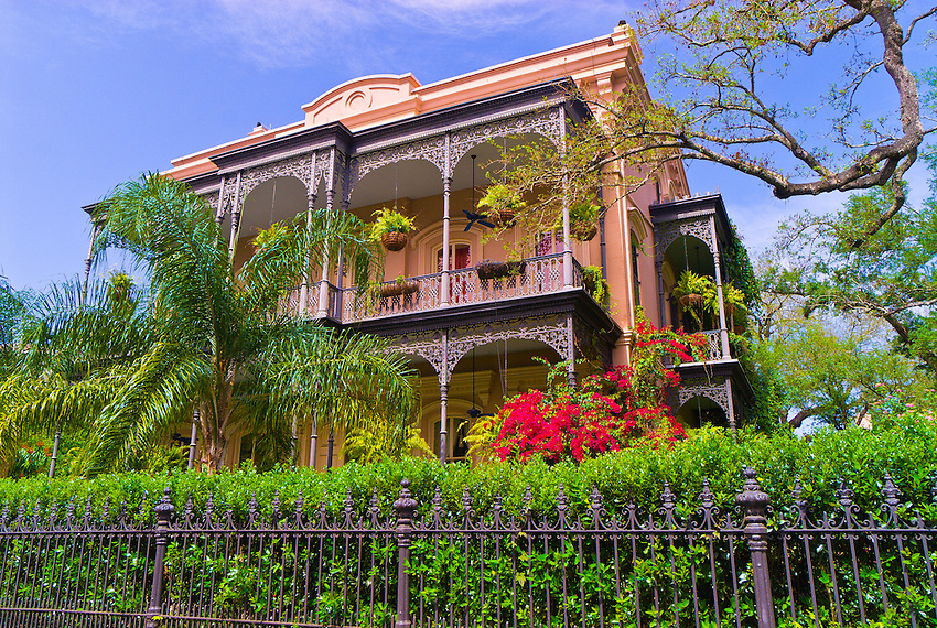 Home in the Garden District with bougainvillea, New Orleans, Louisiana, USA