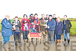 Ballyduff Coursing: Mike Slattery Presesenting the nominators prize to Evelyn Houlihan, Mairedad & Jack Houlihan, Wiliam & Michael Houlihan, Ml. Houlihan , owner of Misty Hession receiving the winners trophy of the John Houlihan & Leagh Stake, from Jeremiah Houilihan, John Houlihan, Steve Browne, Geraldine Enright and Caroline Houlihan.