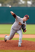 Minnesota Gophers starting pitcher Austin Lubinsky #40 delivers a pitch during a game against the USF Bulls at the Big Ten/Big East Challenge at Al Lang Stadium on February 19, 2012 in St. Petersburg, Florida.  (Mike Janes/Four Seam Images)
