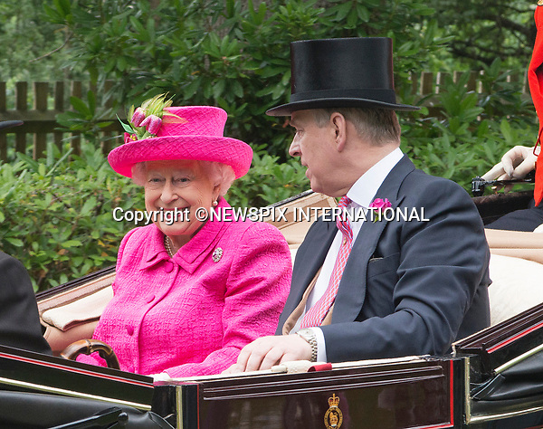 22.06.2017; Ascot, UK: QUEEN ELIZABETH AND PRINCE ANDREW<br />looking cheerful as they ride in the royal procession to Ascot Racecourse.<br />Mandatory Credit Photo: &copy;Dias/NEWSPIX INTERNATIONAL<br /><br />IMMEDIATE CONFIRMATION OF USAGE REQUIRED:<br />Newspix International, 31 Chinnery Hill, Bishop's Stortford, ENGLAND CM23 3PS<br />Tel:+441279 324672  ; Fax: +441279656877<br />Mobile:  07775681153<br />e-mail: info@newspixinternational.co.uk<br />Usage Implies Acceptance of OUr Terms &amp; Conditions<br />Please refer to usage terms. All Fees Payable To Newspix International