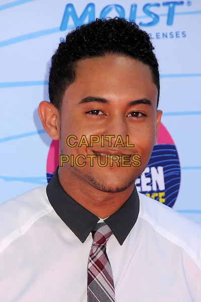Tahj Mowry.FOX's 2012 Teen Choice Awards held at The Gibson Ampitheatre in Universal City, California, USA..July 22nd, 2012.headshot portrait black collar white shirt grey gray plaid tartan tie .CAP/ADM/BP.©Byron Purvis/AdMedia/Capital Pictures.