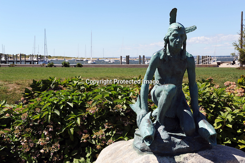 Indian statue in harbor in Watch Hill, Rhode Island USA