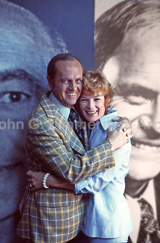 Bob Newhart and wife Ginny, CBS Studios, Los Angeles, 1974.