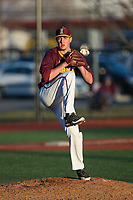 Iona Gaels relief pitcher Jason Antalek (32) keeps an eye on the runner at first base as he begins his wind-up during the game against the Rutgers Scarlet Knights at City Park on March 8, 2017 in New Rochelle, New York.  The Scarlet Knights defeated the Gaels 12-3.  (Brian Westerholt/Four Seam Images)