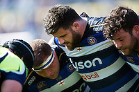 The Bath Rugby front row pack down for a scrum. Aviva Premiership match, between Bath Rugby and Sale Sharks on April 23, 2016 at the Recreation Ground in Bath, England. Photo by: Patrick Khachfe / Onside Images