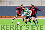 Get there<br /> ------------<br /> William Courtney,Killarney Celtic defends the ball from Brian Crowley,Mastergeeha when the side clashed at Mounthawk Pk,Tralee in the U18 cup semi final last Saturday evening