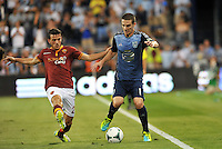 Sporting Park, Kansas City, Kansas, July 31 2013:<br /> Alessandro Florenzi (24) midfield AS Roma, Will Johnson (15) midfield MLS All-Stars .<br /> MLS All-Stars were defeated 3-1 by AS Roma at Sporting Park, Kansas City, KS in the 2013 AT & T All-Star game.
