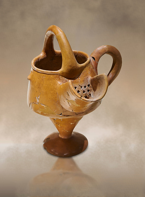 Hittite terra cotta vessel with strainer - 19th 17th century BC - Hattusa ( Bogazkoy ) - Museum of Anatolian Civilisations, Ankara, Turkey