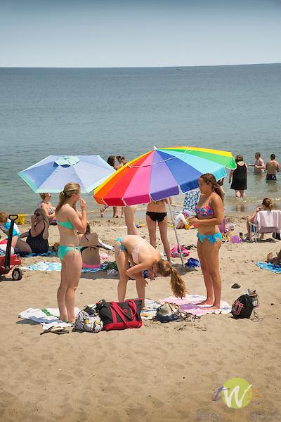 York Beach, ME.  Beach goers