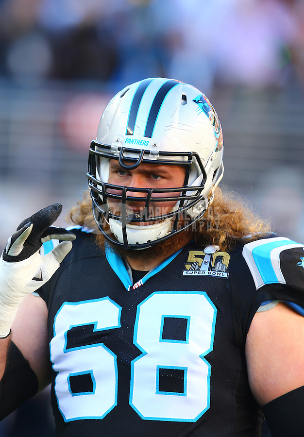 Feb 7, 2016; Santa Clara, CA, USA; Carolina Panthers offensive guard Andrew Norwell (68) against the Denver Broncos during Super Bowl 50 at Levi's Stadium. Mandatory Credit: Mark J. Rebilas-USA TODAY Sports