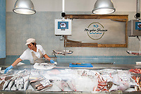Fresh seafood display at Meglio Fresco Pescheria and restaurant, Rome, Italy