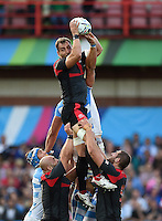 Giorgi Nemsadze of Georgia wins the ball at a lineout. Rugby World Cup Pool C match between Argentina and Georgia on September 25, 2015 at Kingsholm Stadium in Gloucester, England. Photo by: Patrick Khachfe / Onside Images