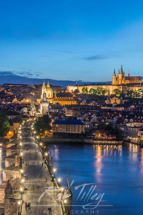 Europe, Czech Republic, Bohemia, Prague, Charles Bridge Twilight