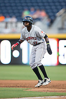 Alen Hanson (13) of the Indianapolis Indians takes his lead off of first base against the Durham Bulls at Durham Bulls Athletic Park on August 4, 2015 in Durham, North Carolina.  The Indians defeated the Bulls 5-1.  (Brian Westerholt/Four Seam Images)