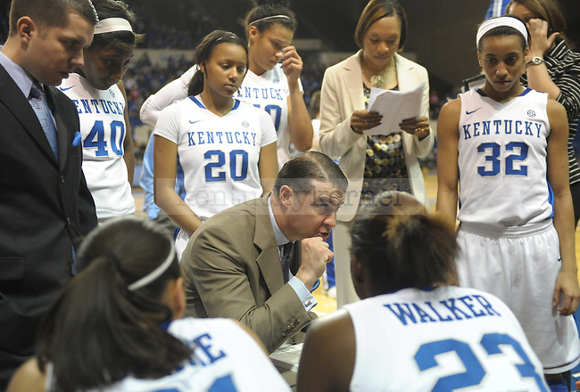 Kentucky's UK head coach Matthew Mitchell talks to the team during a timeout during the second half of the University of Kentucky Women's basketball game against Mississippi State at Memorial Coliseum in Lexington, Ky., on 1/8/12. Uk won the game 88-40. Photo by Mike Weaver | Staff