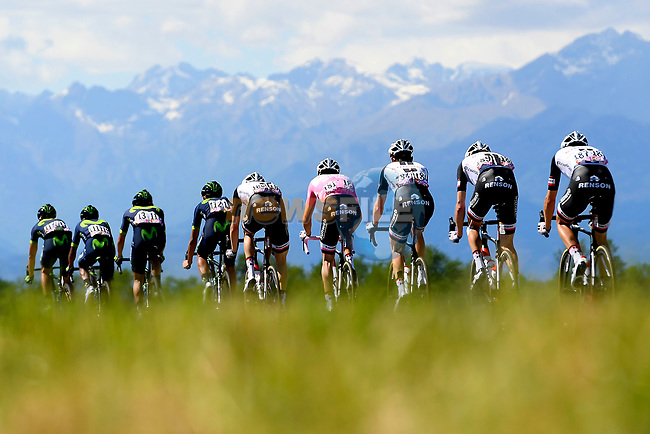 The peloton in action during Stage 14 of the 100th edition of the Giro d'Italia 2017, running 131km from Castellania to Oropa, Italy. 20th May 2017.<br /> Picture: LaPresse/Fabio Ferrari | Cyclefile<br /> <br /> <br /> All photos usage must carry mandatory copyright credit (&copy; Cyclefile | LaPresse/Fabio Ferrari)