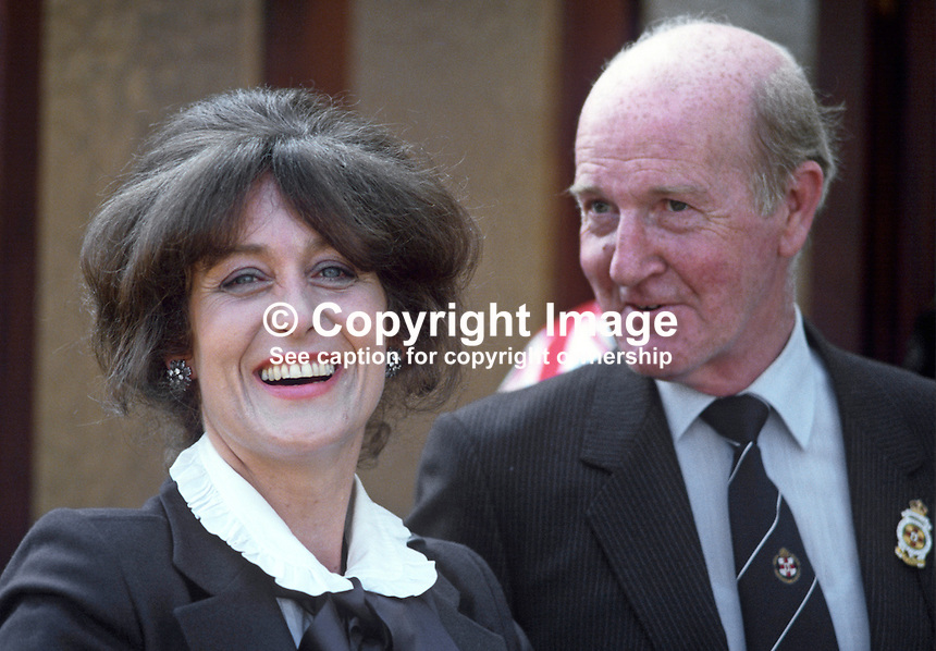 Lady Georgina Mary O'Neill, wife of Lord O'Neill, 4th Baron, Shane's Castle, Antrim, N Ireland, UK, at Balmoral Show, Belfast. With Lady O'Neill is Robin Wylie, council member, Royal Ulster Agricultural Society. 19840070GMON3.<br /> <br /> Copyright Image from Victor Patterson,<br /> 54 Dorchester Park, Belfast, UK, BT9 6RJ<br /> <br /> t1: +44 28 90661296<br /> t2: +44 28 90022446<br /> m: +44 7802 353836<br /> <br /> e1: victorpatterson@me.com<br /> e2: victorpatterson@gmail.com<br /> <br /> For my Terms and Conditions of Use go to<br /> www.victorpatterson.com
