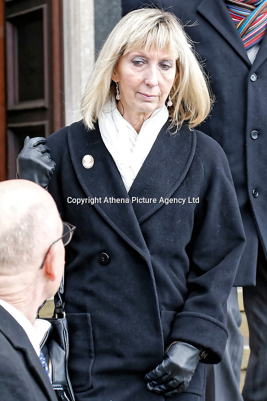 COPY BY TOM BEDFORD<br /> Pictured: Ann Jones, the receptionist at the surgery which turned away Ellie May Clark, leaves Newport Coroner's Court. Monday 26 February 2018<br /> Re: Inquest held at Newport Coroner's Court, into the death of five year old Ellie-May Clark who died of an asthma attack, after being refused a GP appointment in Newport, south Wales. <br /> Dr Joanne Rowe refused to see her, on the grounds that her mother was a few minutes late for a booked appointment.<br /> A few hours later, Ellie-May Clark suffered a seizure and died, despite the efforts of an ambulance crew.