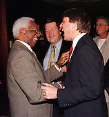 Vernon Malone of Raleigh, North Carolina enjoys a laugh with United States Senator-elect John Edwards (Democrat of North Carolina) at a reception at Union Station in Washington, D.C. on January 5, 1999..Credit: Ron Sachs / CNP