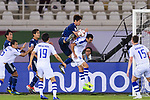 Miura Genta of Japan (3rd R) fights for the ball with Fozil Musaev of Uzbekistan (2nd R) during the AFC Asian Cup UAE 2019 Group F match between Japan (JPN) and Uzbekistan (UZB) at Khalifa Bin Zayed Stadium on 17 January 2019 in Al Ain, United Arab Emirates. Photo by Marcio Rodrigo Machado / Power Sport Images