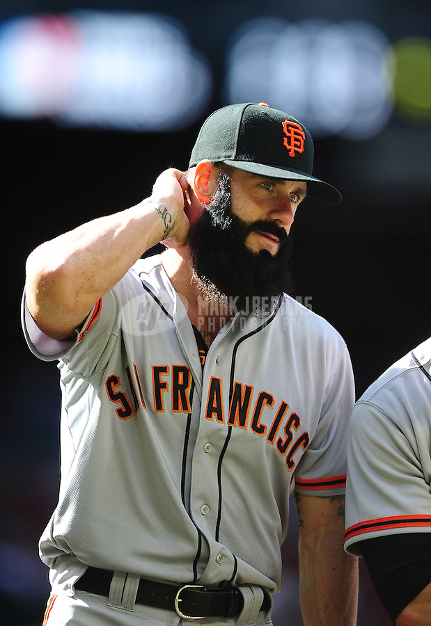 Apr. 6, 2012; Phoenix, AZ, USA; San Francisco Giants pitcher Brian Wilson prior to the game against the Arizona Diamondbacks during opening day at Chase Field. The Diamondbacks defeated the Giants 5-4. Mandatory Credit: Mark J. Rebilas-