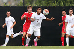 30 August 2015: Elon's Eduardo Alvarez (HON) (7) and Saint Mary's Stephen Dougherty (18). The Elon University Phoenix played the Saint Mary's College Gaels at Koskinen Stadium in Durham, NC in a 2015 NCAA Division I Men's Soccer match. Elon won the game 1-0.