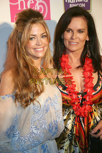 DENISE RICHARDS & DENISE BROWN.1st Annual ?HER Luau at the Mansion? to benefit The Nicole Brown Foundation at the Playboy Mansion, Beverly Hills, LA, California, USA, 21 July 2007..full length blue and white patterned off the shoulder dress DENICE.CAP/ADM/BP.©Byron Purvis/AdMedia/Capital Pictures.