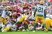 Landover, MD - September 23, 2018: Washington Redskins running back Adrian Peterson (26) scores a touchdown during game between the Green Bay Packers and the Washington Redskins at FedEx Field in Landover, MD. The Redskins get the win 31-17 over the visiting Packers. (Photo by Phillip Peters/Media Images International)