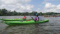 NWA Democrat-Gazette/FLIP PUTTHOFF <br />Northwest Arkansas paddlers Nancy Bullock of Rogers (left) and Nancy Moore of Beaver Lake make their way July 31 2018 down the Des Moines River.