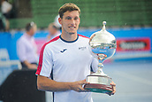 12th January 2018,  Kooyong Lawn Tennis Club, Kooyong, Melbourne, Australia; Priceline Pharmacy Kooyong Classic tennis tournament; Pablo Carreno Busta of Spain shows off his trophy after defeating Matt Ebden of Australia in the Kooyong Classic final
