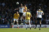 Port Vale's Rigino Cicilia and Bolton Wanderers' Dorian Dervite<br /> <br /> Photographer Stephen White/CameraSport<br /> <br /> The EFL Sky Bet League One - Port Vale v Bolton Wanderers  - Saturday 22nd April 2017 - Vale Park - Burslem<br /> <br /> World Copyright &copy; 2017 CameraSport. All rights reserved. 43 Linden Ave. Countesthorpe. Leicester. England. LE8 5PG - Tel: +44 (0) 116 277 4147 - admin@camerasport.com - www.camerasport.com