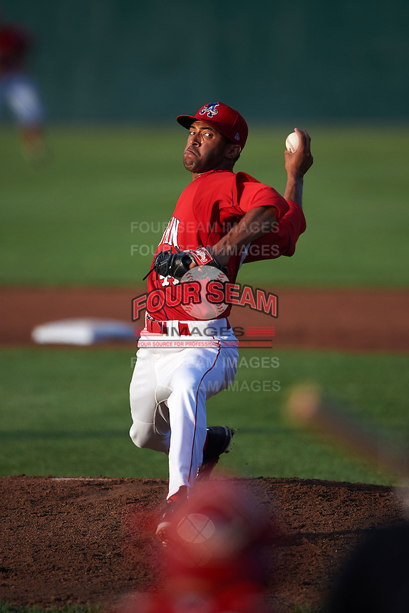 Auburn Doubledays pitcher Mariano Rivera (44) delivers a pitch during a game against the State College Spikes on July 6, 2015 at Falcon Park in Auburn, New York.  State College defeated Auburn 9-7.  (Mike Janes/Four Seam Images)