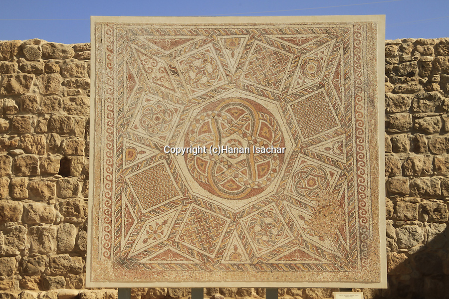 Judean Desert, the museum of the Good Samaritan, mosaic floor from the Roman fortress at Deir Qala