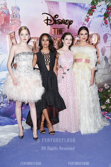 LONDON, UK. November 01, 2018: Ellie Bamber, Misty Copeland, Mackenzie Foy &amp; Keira Knightley at the premiere of &quot;The Nutcracker and the Four Realms&quot; at the Vue Westfield, London.<br /> Picture: Steve Vas/Featureflash