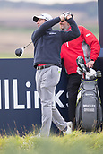 3rd October 2017, The Old Course, St Andrews, Scotland; Alfred Dunhill Links Championship, practice round; Bradley Dredge of Wales tees off on the fourteenth hole during a practice round on the Old Course, St Andrews before the Alfred Dunhill Links Championship