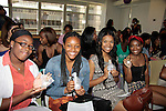 Scholars hold Golden Mermaid perfume made just for them - The Soledad O'Brien & Brad Raymond Starfish Foundation scholars from all over the country gathered in New York City, New York on July 25, 2014 - first at the Sensorium, Firmenich International Fine Fragrance where four mentors talked to the students - they were presented with their own fragrance.  (Photo by Sue Coflin/Max Photos)