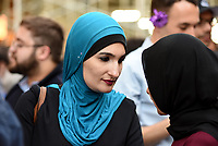 NEW YORK, USA - JUNE 01 : Linda Sarsour, co-organizer of the National Womens March and one of TIME Magazines 100 Most Influential People is in the event of M Power Change social organization  and the New York State Immigrant Action Fund  bring New York Muslim communities together for an Iftar at Trump Tower during Ramadan on June 01,2017 in New York. Joana Toro/VIEW press