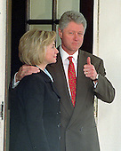 "United States President Bill Clinton gives a ""thumbs-up"" when asked about his meeting at the White House in Washington, D.C. with King Hussein of Jordan on March 19, 1998.  First lady Hillary Rodham Clinton looks on.<br /> Credit: Ron Sachs / CNP"