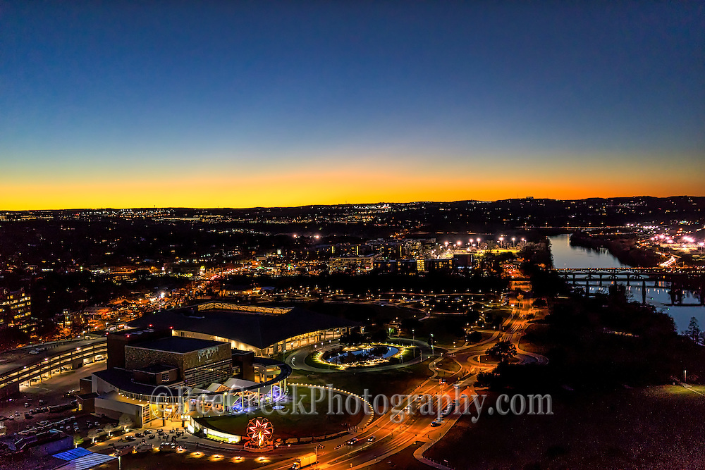 This is a aerial view of the Long Center in Austin Texas, we capture at night during an event. You can see Lady Bird Lake along with the Palmer Event Center in the view right after the sun went down.