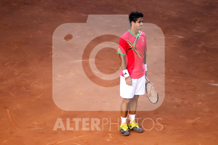 Fernando Verdasco dejected during Madrid Open Tennis tournament Match. May 03, 2011. (ALTERPHOTOS/Alvaro Hernandez)